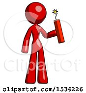 Red Design Mascot Woman Holding Dynamite With Fuse Lit