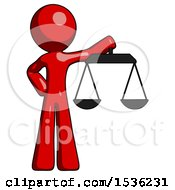 Red Design Mascot Man Holding Scales Of Justice
