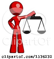 Red Design Mascot Woman Holding Scales Of Justice