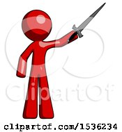 Red Design Mascot Man Holding Sword In The Air Victoriously