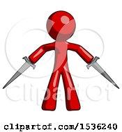 Red Design Mascot Man Two Sword Defense Pose