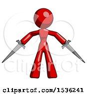 Red Design Mascot Woman Two Sword Defense Pose