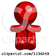 Red Design Mascot Woman Sitting With Head Down Facing Forward