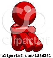 Red Design Mascot Woman Sitting With Head Down Facing Angle Right