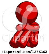 Red Design Mascot Woman Sitting With Head Down Facing Angle Left