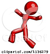 Red Design Mascot Woman Running Away In Hysterical Panic Direction Left