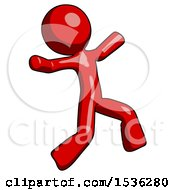 Red Design Mascot Man Running Away In Hysterical Panic Direction Right