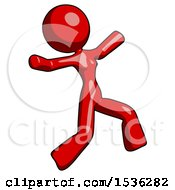 Red Design Mascot Woman Running Away In Hysterical Panic Direction Right