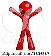 Red Design Mascot Man Surprise Pose Arms And Legs Out