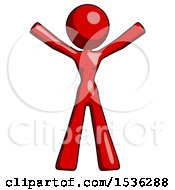 Red Design Mascot Woman Surprise Pose Arms And Legs Out