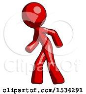 Red Design Mascot Man Suspense Action Pose Facing Left
