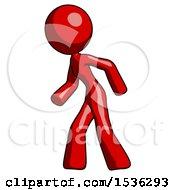 Red Design Mascot Woman Suspenseaction Pose Facing Left