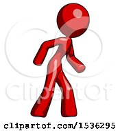 Red Design Mascot Woman Suspense Action Pose Facing Right