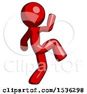 Red Design Mascot Man Kick Pose Start