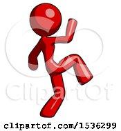 Red Design Mascot Woman Kick Pose Start