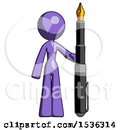 Purple Design Mascot Woman Holding Giant Calligraphy Pen
