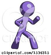 Purple Design Mascot Man Martial Arts Defense Pose Right