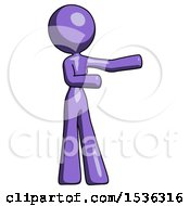 Purple Design Mascot Woman Presenting Something To Her Left
