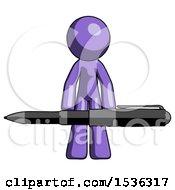 Purple Design Mascot Man Weightlifting A Giant Pen