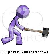 Purple Design Mascot Man Hitting With Sledgehammer Or Smashing Something