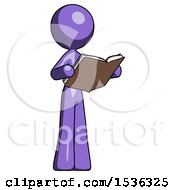 Purple Design Mascot Woman Reading Book While Standing Up Facing Away