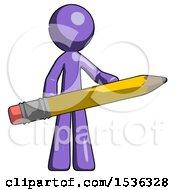 Purple Design Mascot Man Writer Or Blogger Holding Large Pencil