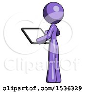 Purple Design Mascot Woman Looking At Tablet Device Computer With Back To Viewer
