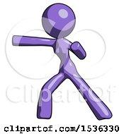 Purple Design Mascot Woman Martial Arts Punch Left