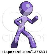 Purple Design Mascot Woman Martial Arts Defense Pose Right