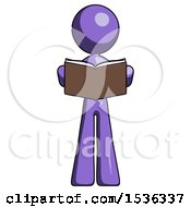 Purple Design Mascot Woman Reading Book While Standing Up Facing Viewer