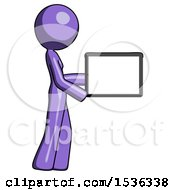 Purple Design Mascot Woman Show Tablet Device Computer To Viewer Blank Area