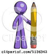 Purple Design Mascot Man With Large Pencil Standing Ready To Write