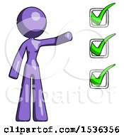 Purple Design Mascot Woman Standing By A Checkmark List Arm Extended