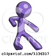 Purple Design Mascot Man Karate Defense Pose Right