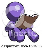 Poster, Art Print Of Purple Design Mascot Man Reading Book While Sitting Down