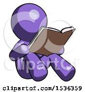 Purple Design Mascot Man Reading Book While Sitting Down