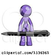 Purple Design Mascot Woman Lifting A Giant Pen Like Weights