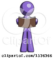 Purple Design Mascot Man Reading Book While Standing Up Facing Viewer