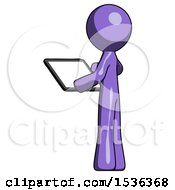 Purple Design Mascot Man Looking At Tablet Device Computer With Back To Viewer