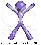 Purple Design Mascot Woman Jumping Or Flailing