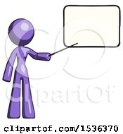 Purple Design Mascot Woman Pointing At Dry Erase Board With Stick Giving Presentation
