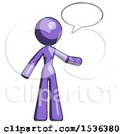 Purple Design Mascot Woman With Word Bubble Talking Chat Icon
