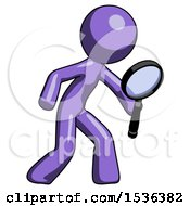 Purple Design Mascot Man Inspecting With Large Magnifying Glass Right