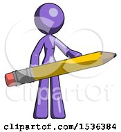 Purple Design Mascot Woman Office Worker Or Writer Holding A Giant Pencil