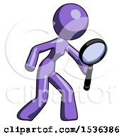Purple Design Mascot Woman Inspecting With Large Magnifying Glass Right