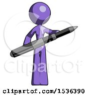 Purple Design Mascot Woman Posing Confidently With Giant Pen