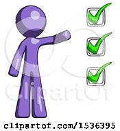 Purple Design Mascot Man Standing By List Of Checkmarks