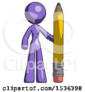 Purple Design Mascot Woman With Large Pencil Standing Ready To Write