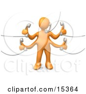 Orange Person Handling Five Different Telephone Conversations While Multi Tasking At Work Clipart Illustration Image