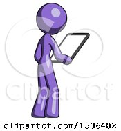 Purple Design Mascot Woman Looking At Tablet Device Computer Facing Away